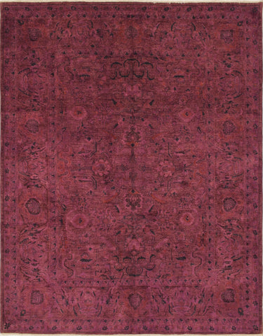 Overdyed Hayri Purple/Green Rug, 8'1 x 9'8