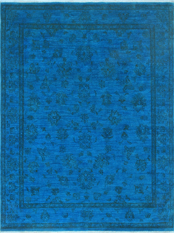 Overdyed Udale Blue/Black Rug, 5'6 x 7'7