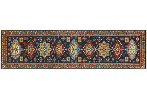 "Aria Brainerd Blue/Red Rug, 2'8"" x 10'5"""
