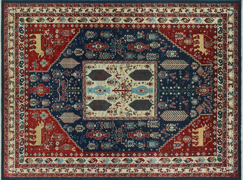 "Aria Darnisha Blue/Red Rug, 9'2"" x 12'8"""