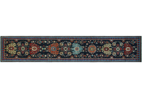 "Aria Brantley Blue/Rust Rug, 2'7"" x 14'8"""