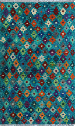 "Balochi Ayoluwa Green/Red Rug, 3'3"" x 4'11"""