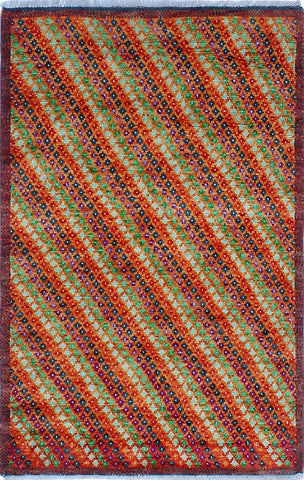 Balochi Zawadi Orange/Red Rug, 3'2 x 4'11