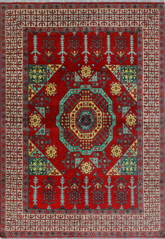 Balochi Sanura Red/Green Rug, 5'7 x 8'1