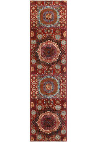 "Aria Keith Red/Ivory Runner, 2'7"" x 10'7"""