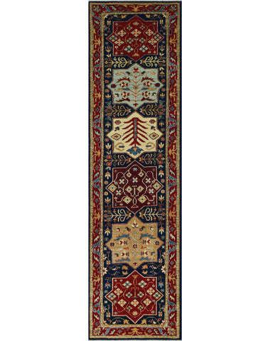 "Aria Almira Blue/Red Runner, 2'9"" x 10'4"""
