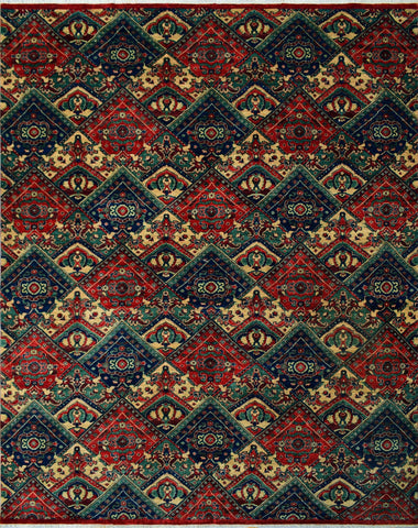 "Aria Bridget Red/Blue Rug, 9'2"" x 11'7"""
