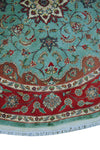 "Wali Kashan Green/Red Round Rug, 6'0"" x 5'10"""