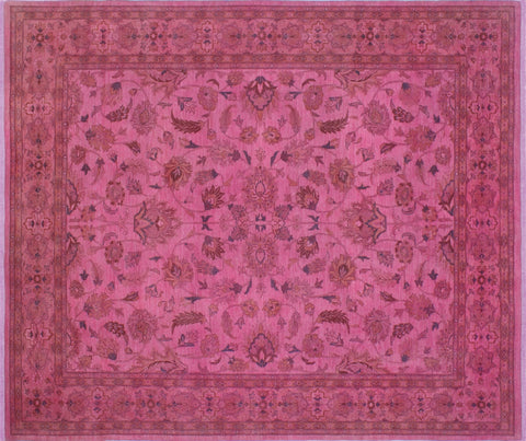 "Overdyed Aaus Pink/Green Rug, 7'10"" x 9'2"""