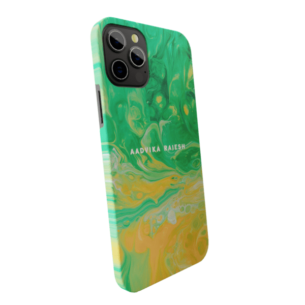 Green & Orange Foam Marble Matte finished Name Printed Back Case Zozzlefield