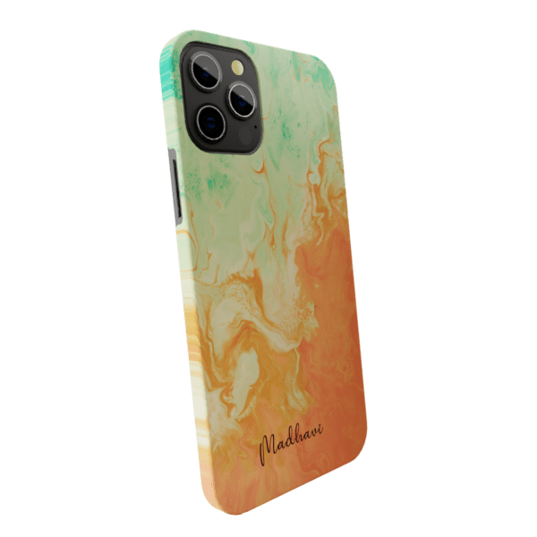 Green & Orange  Marble Matte finished Name Printed Back Case Zozzlefield
