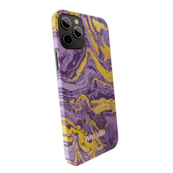 Violet & Golden Fluid Marble Matte finished Name Printed Back Case Zozzlefield