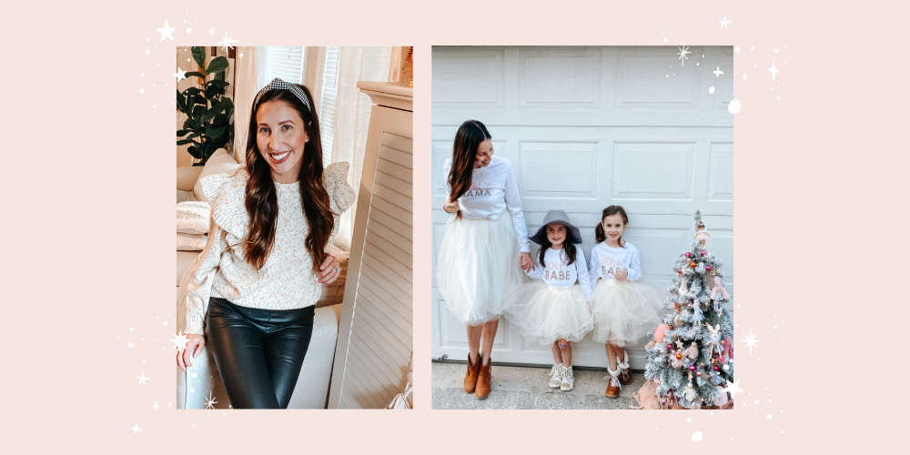 Left Image: April sits on the arm of her couch while smiling for the camera. She is wearing a black gingham knotted headband, a white sweater, and black pleather pants. Right Image: April stands with her two daughters in front of their white garage door. To the right is a flocked and decorated Christmas Tree.