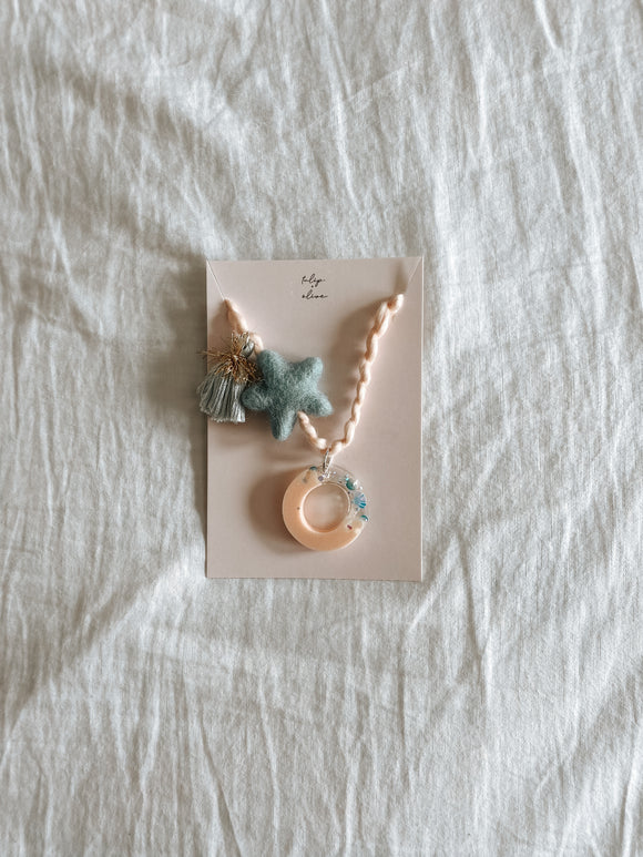 Mermaid Letter Necklace - Peach