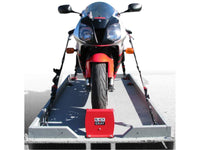 Motorcycle Wheel Chocks and Tie-Down Straps for secure transport