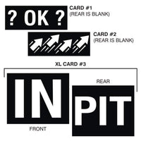 Large PIT | IN card, ?OK?,  arrows