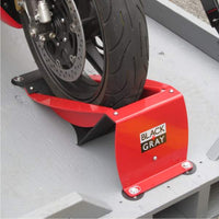 Motorcycle Wheel Chock with ¼ turn installation hardware
