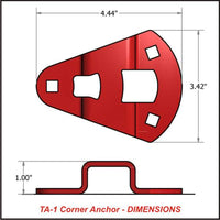"Tie-Down Anchor: approx. 4.5"" L, 3.5"" W, 1"" H"