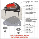 Rotating ring anchor for secure cargo transport