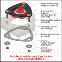 Strong recessed Tie-Down Ring Anchor with rotating ring