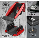 Front and rear aluminum wheel chocks with installation kits for easy chock removal