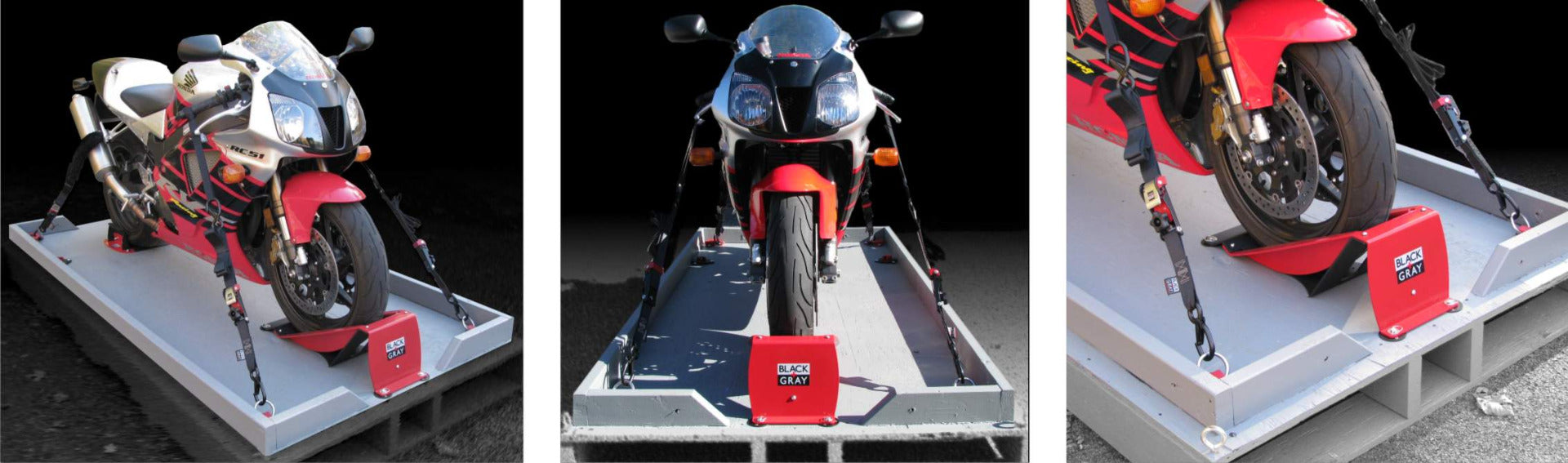 Motorcycle Wheel Chocks and Tie-Down Straps for safe transport