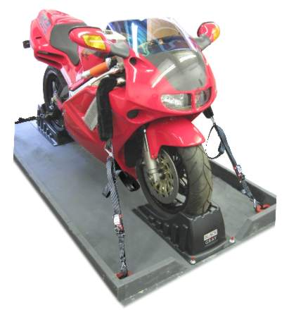 motorcycle secured for transport with tie-down straps snd wheel chocks