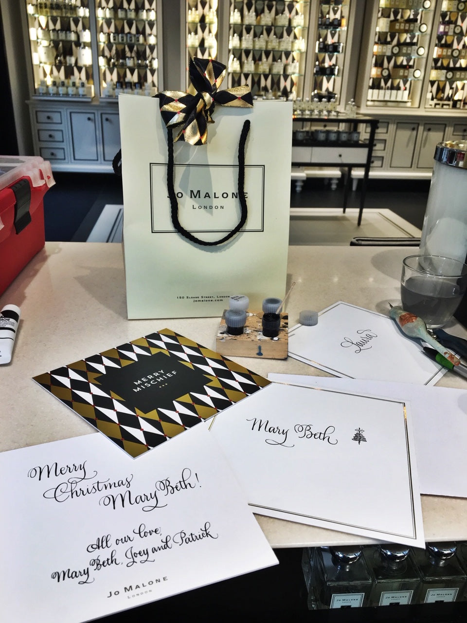 Onsite calligraphy for Jo Malone