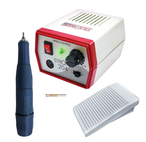 "Tabletop Strong 204 Micromotor- Includes 45000 RPM Handpiece, 1/8"" Chuck & On-Off Pedal"