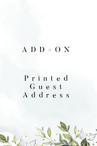 Add-On: Computer Printed Guest Addresses