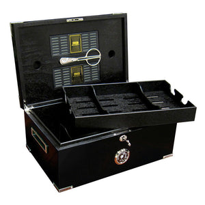 The Dakota Black Humidor with Scissors by Prestige Import Group - Mariano Shop