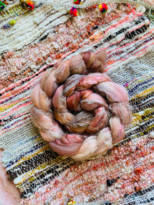 Merino/Flax/Silk Roving Blend - The Pink City (PRE ORDER)