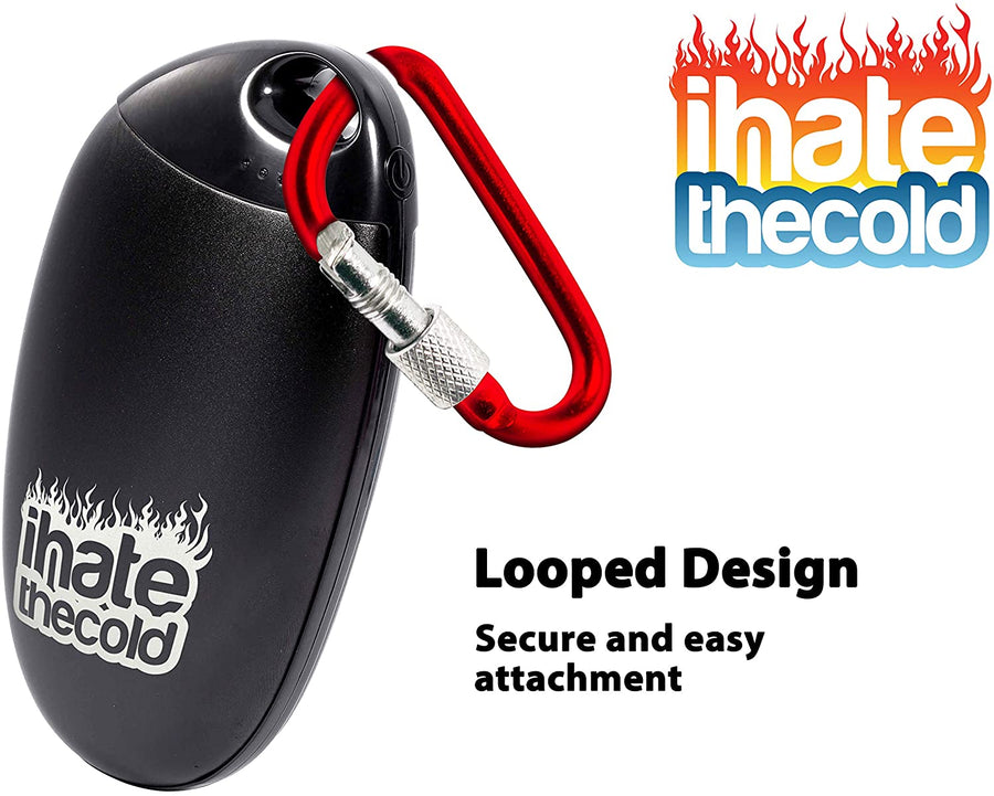 iHateTheCold Rechargeable Reusable Token Hand Warmer Black with Smooth Aluminium Shell - ihatethecold.com