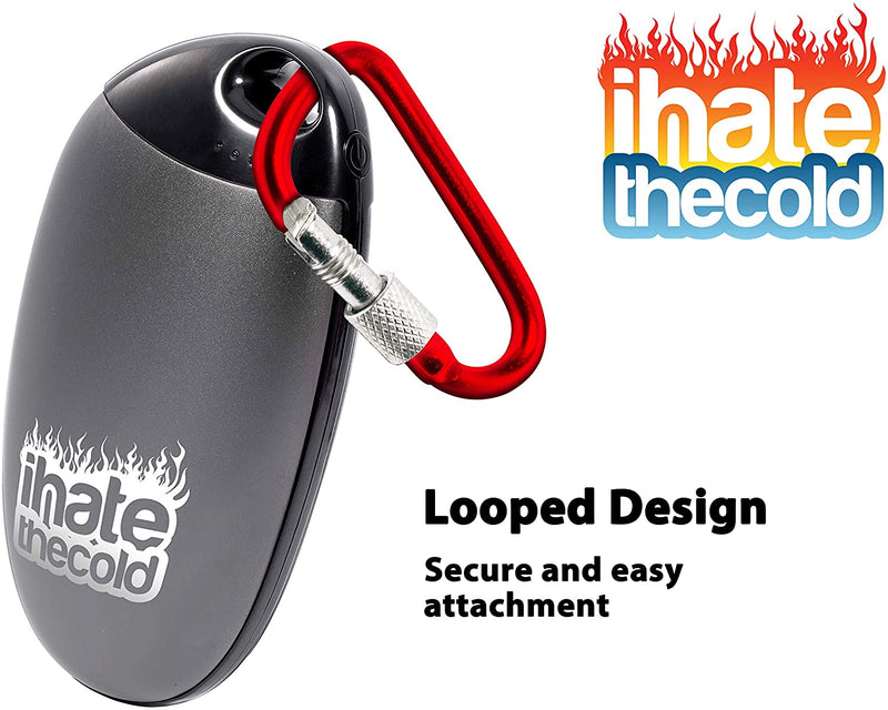 iHateTheCold Rechargeable Reusable Token Hand Warmer Silver with Black Plastic - ihatethecold.com