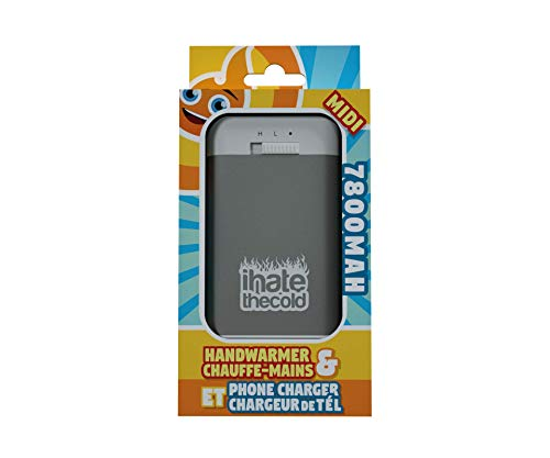 Rechargeable Reusable Midi Grey 7800mAh USB Hand Warmer and Power Bank - ihatethecold.com