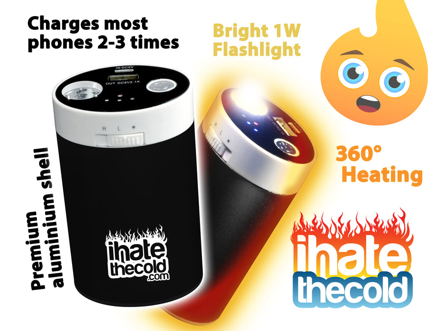 Rechargeable Reusable Maxi Black 10400mAh USB Portable Hand Warmer - ihatethecold.com