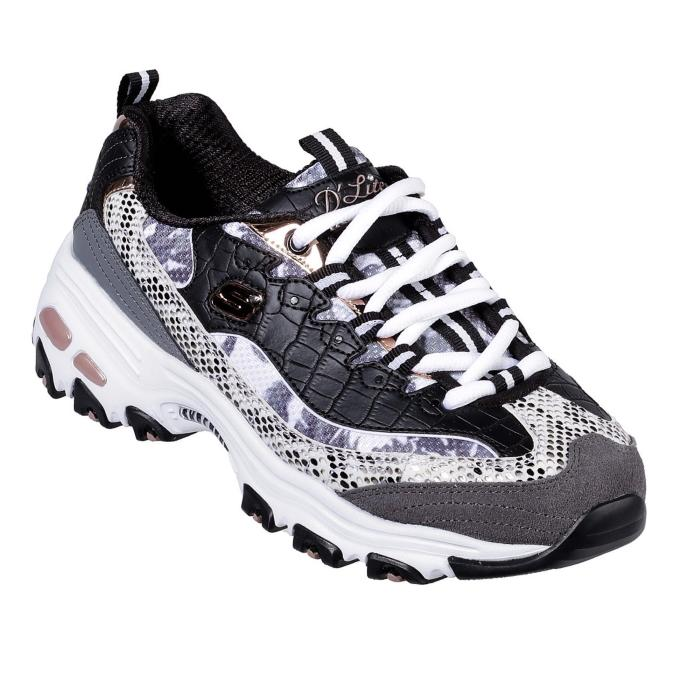 skechers black and rose gold