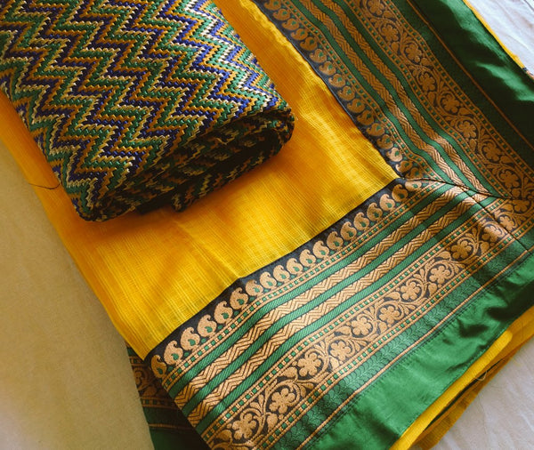 Hand stitched kota silk sari by DesiCrafts
