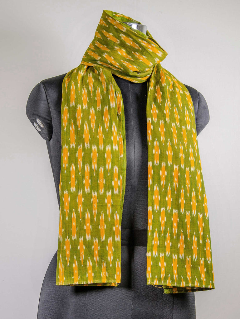 Ikat handloom cotton scarf in Spring colors by DesiCrafts