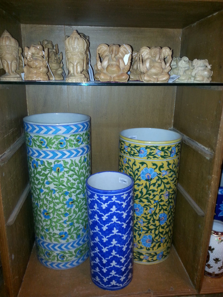 Handmade Blue Pottery on Display for Buyers