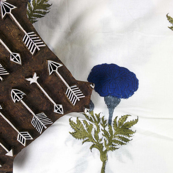 Marigold in Blue and Olive Soft Cambric Cotton Fabric