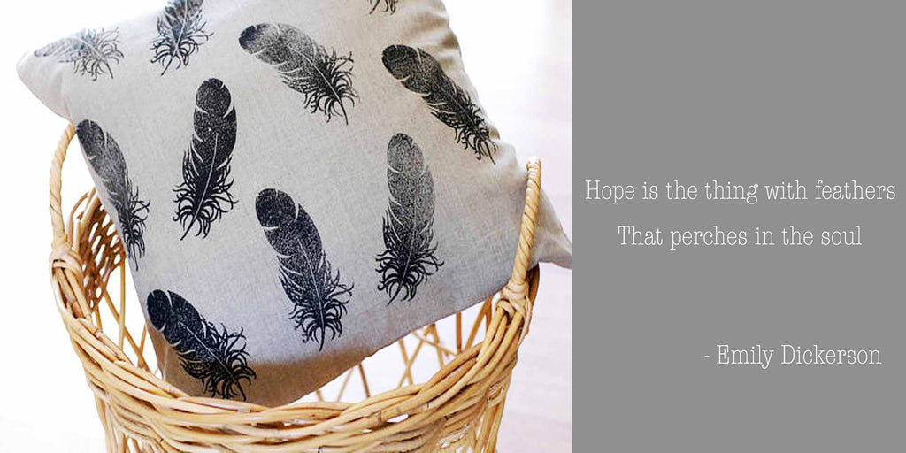 Hand Block Printed Feathers Linen Pillow Cover