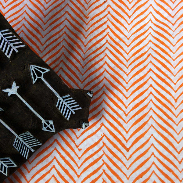 Orange and White Chevron Cotton Hand Block Printed Sangneri Fabric