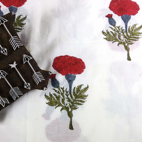 Marigold in Red and Olive Soft Cambric Cotton Fabric