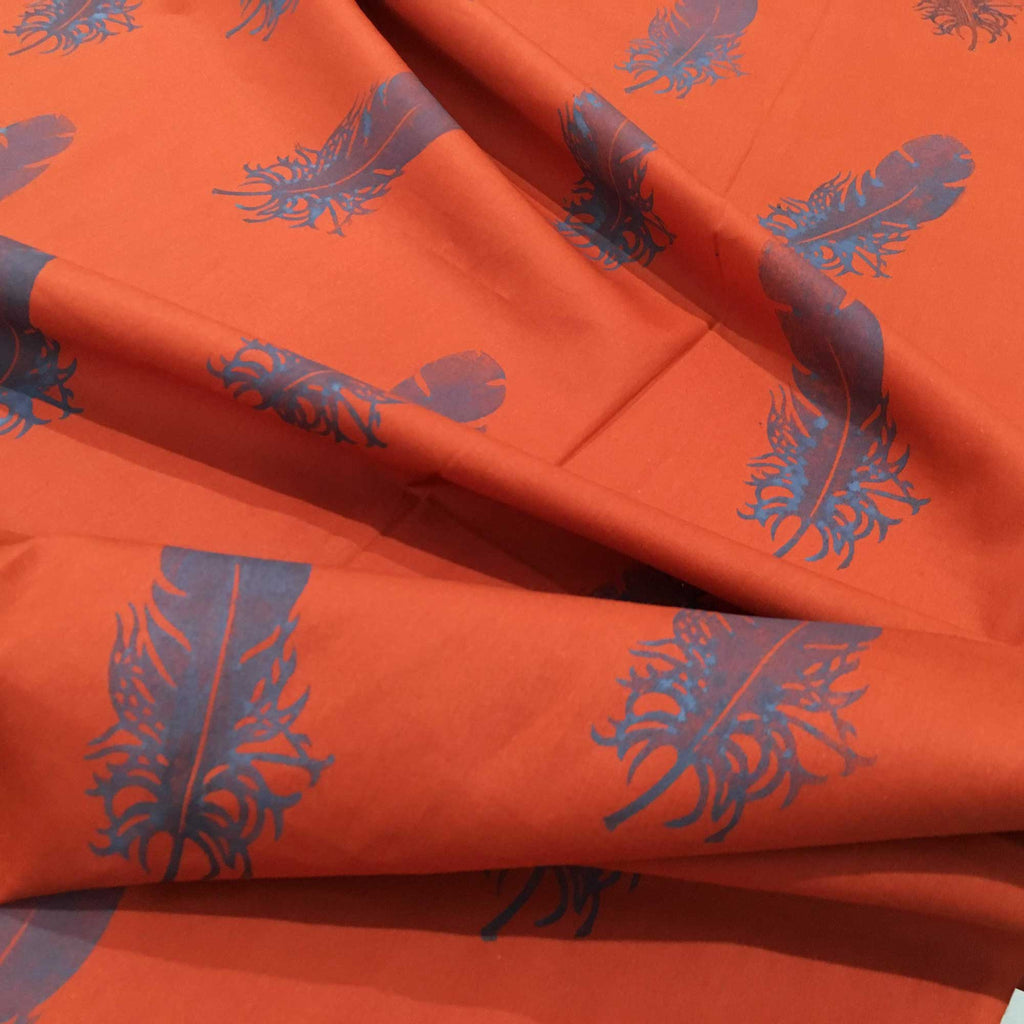 Handblock Printed Rust and Gray Feathers Print Fabric