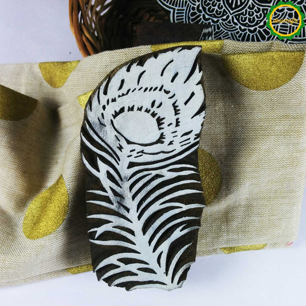 Peacock Feather Wooden Blockprinting Stamp