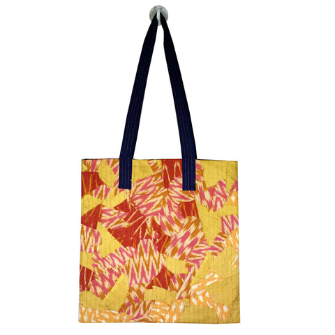Yellow Pink Ikat Farmers Market Bag