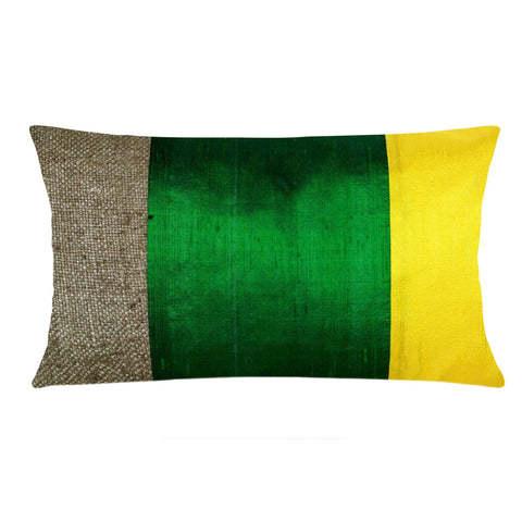 Handmade Green Yellow Bhagalpuri Jute Silk Pillow Cover