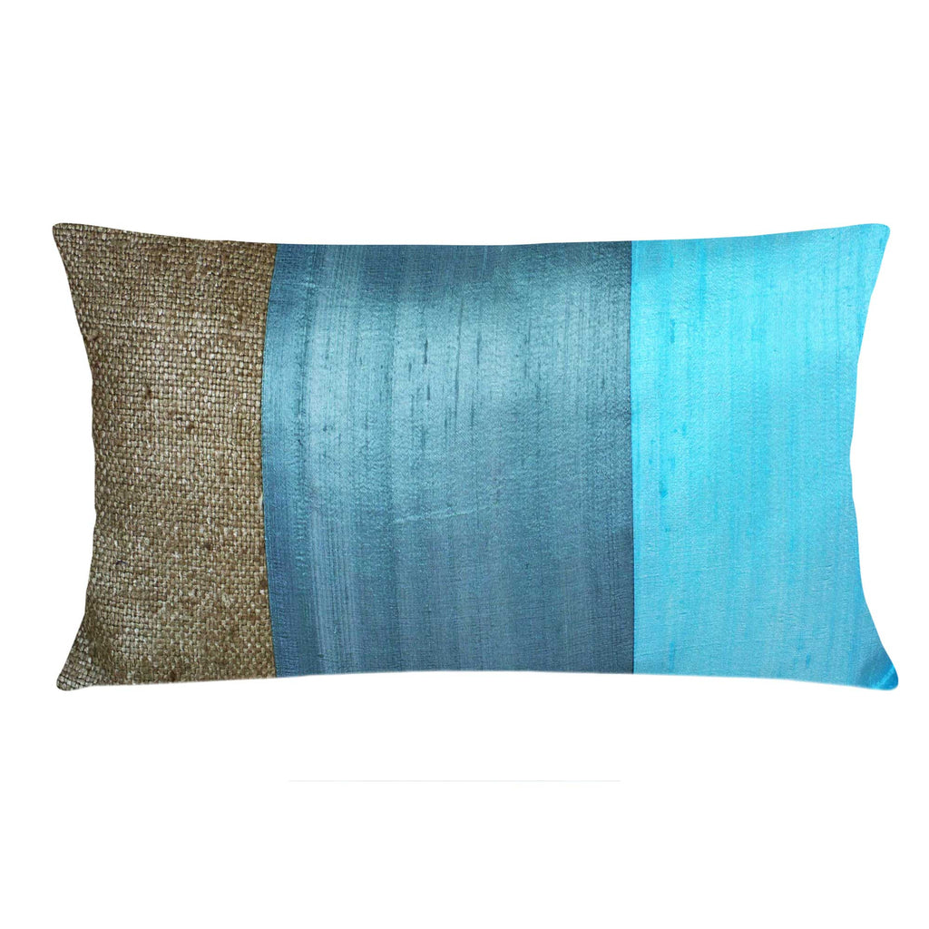 Mint and Grey Raw Silk Pillow Cover Handmade in India