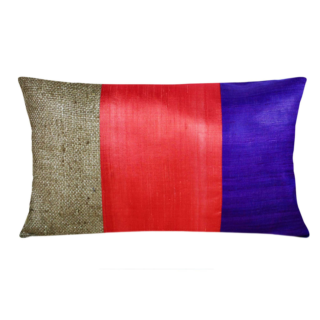 Purple Coral Raw Silk Lumbar Pillow Cover Handmade by DesiCrafts